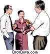 Vector Clipart image  of a people meeting at an office