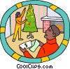 employee receiving Christmas bonus in the mail Vector Clip Art image