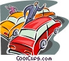Vector Clipart graphic  of a pedestrian makes his way through traffic