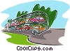 automobiles being delivered to market Vector Clipart picture