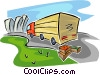 truck load of vegetables traveling towards a city Vector Clipart illustration