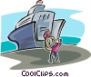 Vector Clip Art image  of a ship at dock being loaded with