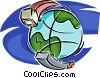 transports encircling the globe Vector Clip Art picture