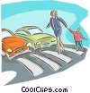 crossing the road Vector Clipart image