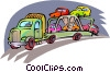 Vector Clip Art graphic  of a Truck moving cars