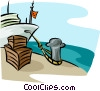 Vector Clip Art graphic  of a ship at docks loading cargo