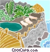 Vector Clipart image  of a Lounge chairs on a rocky shore