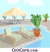 Vector Clip Art image  of a swimming pool with deck chairs