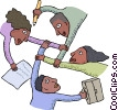 co-workers joining arms towards a common goal Vector Clipart graphic