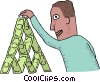 Vector Clipart illustration  of a man stacking dollar bills