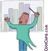 Man orchestrating business results Vector Clipart picture