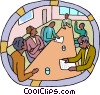 Vector Clipart illustration  of a Boardroom meeting