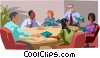 Vector Clip Art image  of a Boardroom meeting