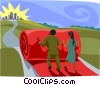 rolling out the red carpet, metaphor Vector Clipart image