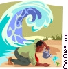 Vector Clipart image  of a watering a small plant at the beach