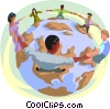 individuals locking arms around the world Vector Clipart graphic