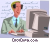 Vector Clipart image  of a man inputting data at a
