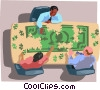 Vector Clipart picture  of a puzzle dollar bill