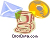 computer with e-mail and CD-ROM disk symbol Vector Clipart picture