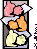 Vector Clipart graphic  of a symbolic people at computers