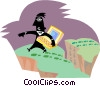 Vector Clip Art picture  of a man carefully traversing the