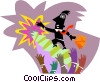 Vector Clipart image  of a man waving goodbye at