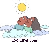 African American couple looking at  sun Vector Clipart picture