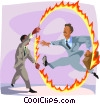 jumping through a ring of fire Vector Clipart graphic