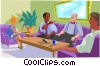 workers celebrating retirement of co-worker Vector Clipart picture