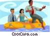 business metaphors, testing the waters Vector Clipart picture
