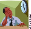 watching the clock and waiting for 5:00 pm Vector Clipart illustration