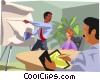 Vector Clipart graphic  of a boardroom presenter points at