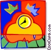 Vector Clip Art picture  of a clock with human face design