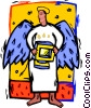 angel with computer Vector Clipart illustration