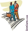 conversation while walking Vector Clipart illustration