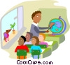 Vector Clipart illustration  of a classroom with teacher