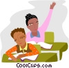 Vector Clipart picture  of a student raising her hand