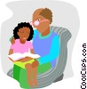 Vector Clipart graphic  of a teacher with student