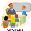 classroom setting with students and teacher Vector Clip Art graphic
