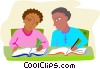 students comparing their notes Vector Clipart graphic