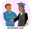 teacher congratulating student graduate in gown Vector Clipart graphic