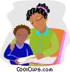 mother and son reviewing lessons Vector Clipart illustration