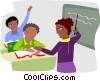 Teacher with students in a classroom Vector Clipart illustration