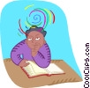 Vector Clip Art picture  of a student in a pensive mood