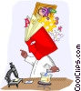Vector Clip Art image  of a scientist with an encyclopedia