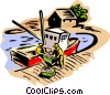 Vector Clipart illustration  of a Fishermen unloading a day's catch