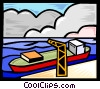 ship at dock receiving cargo Vector Clipart image