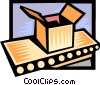 Vector Clip Art graphic  of a package on a conveyor belt