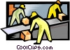 Vector Clipart image  of a Workmen with packages on a