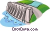 Vector Clip Art graphic  of a hydroelectric facility